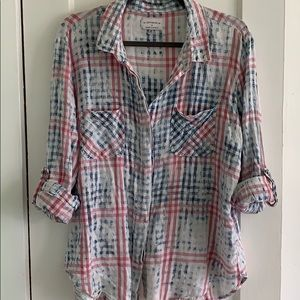 Flannel cotton button down top